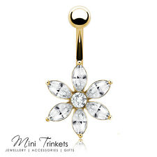 Gold Plated Cubic Zirconia 6 Pointed Flower Belly Bar Navel Body Piercing Gift
