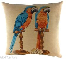 "18 ""tropical Oiseaux Macaw tapisserie belge coussin Evans Lichfield lc683"