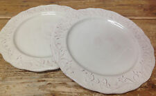 PTS 222 Fifth Petite Floral White Cream Green Raised Embossed 2 Dinner Plates