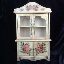Vintage Toy China Cabinet/Hutch, Doll Size, Wooden, Rose Decoration