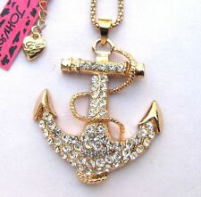 Betsey Johnson shiny crystal Anchor pendant Necklace#303L