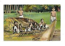 India  Vintage Postcard  Social History  Cocoa Palm Leaf Plaiters Malabar