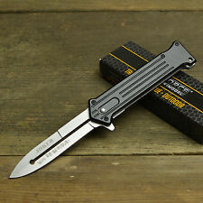 "Joker 8"" Spring Assisted Open Blade Stiletto Folding Pocket Knife Batman Satin"