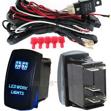 12V On/Off Blue Laser LED Work Light Rocker Switch Kit with Relay Wiring Harness