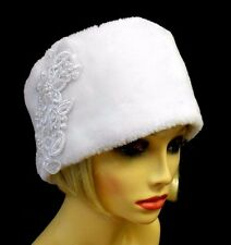 VINTAGE INSPIRED WHITE FAUX FUR ICE QUEEN COSSACK STYLE CLOCHE HAT ~LARGE