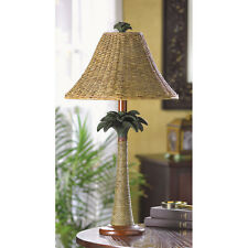 woven wicker grass RATTAN Palm Tree tropical bedside end Table Lamp & rope shade