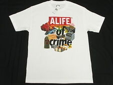 $34 NWT NEW Mens Alife T-Shirt Crime Scenes Tee White Urban Print Size S L434