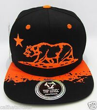 CALIFORNIA REPUBLIC Snapback Cap Hat TOP LEVEL CALI Bear Neon Orange Black NWT