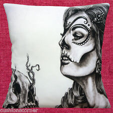 "Vintage Retro Mexican Skull Day of the Dead Silhouette 16"" Pillow Cushion Cover"