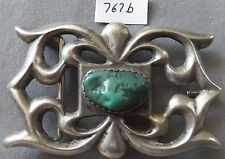 Vintage Navajo Silver & Turquoise, Sand Cast Buckle, Big, Nice, and Old.