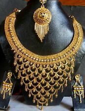 22k Gold Plated South Indian Traditional wedding Necklace Earrings Fashion Set9