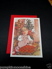 Unused Holly Hobbie Xmas Greeting Card Girl Playing with Her Baby Doll & Kitten