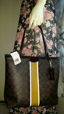 NWT Coach Signature Mahogany Brown Stripe Medium Zipper Tote  F32857 $268