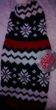 Black and White Designer Medium Knit Dog Jumper With Hood Dog 12 inch Back