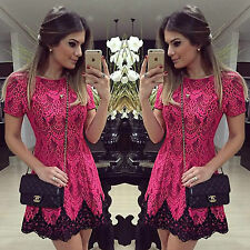 Abito top gonna merletto Scollo trasparente cerimonia Mini lace party Dress XL
