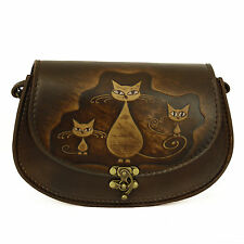 Vintage Handmade Genuine Brown Leather Handbag with a Embossed Cats Family