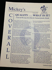 Cast Newsletter Mickey's Coverall October 1992  National Quality Month