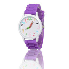 Purple Kids Girls Boys Pencil Style Geneva Wrist Watch Jelly Exquisite Watches