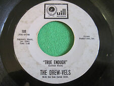 THE DREW-VELS ~ TRUE ENOUGH / CHILLY KISSES  ~ QUILL 100 RARE PATTI DREW 45 SOUL