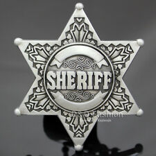 Vintage Silver Western Texas Sheriff Ranger Cop Star Badge Rodeo Belt Buckle