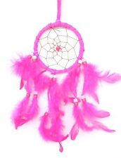 New Hot Pink Dream Catcher Handmade w/ Leather & Feather Car Or Wall Decor