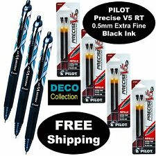 Pilot Precise V5 RT DECO Collection, 3 Pens, 4 Packs Refills 0.5mm Extra Fine