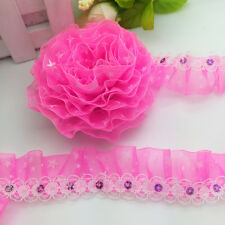 NEW 3 Yards 2-Layer 30mm Rose Organza Lace Gathered Pleated Sequined Trim 045#