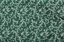 100 % Cotton fabric ~ Green with white, light green vines & leaves ~ BTY