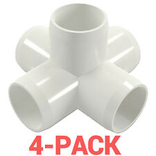 "3/4"" inch 5-Way Cross PVC Fitting Connector Side Outlet - 4-Pack - PB0755W-4P"