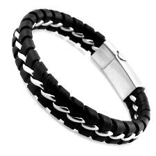 Lederarmband Leder Edelstahl Magnet Armband silber schwarz Damen Herren Armreif