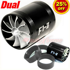 For FORD 64-74mm TURBO CHARGER AIR INTAKE TURBONATOR DUAL Fuel Saver Fan BLACK