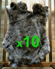 10 x BROWN Rabbit Skin Fur Pelt Tanned for; dummy, animal training, crafts, LARP