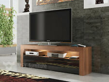 Modern TV Unit  Cabinet Stand Walnut Matt and Black High Gloss FREE LED LIGHTS!
