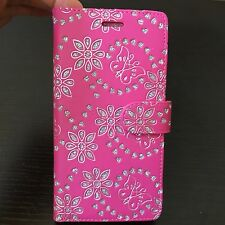For ZTE ZMAX PRO Z981 - Card Wallet Folio Pouch Case Pink Butterfly Flower Heart