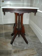 Victorian Eastlake Style whtie walnut marble top parlor table Pick UP western PA
