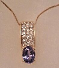 14k yellow Gold 1.35ct Oval Tanzanite solitaire Diamonds Pendant necklace slider