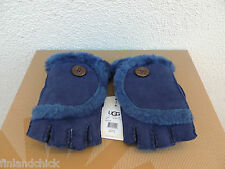 UGG PEACOAT MINI BAILEY BUTTON FINGERLESS SUEDE SHEARLING GLOVES ~LARGE ~ NWT