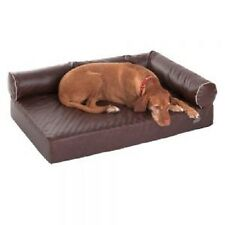 Dog Bed Sofa Brown Orthopaedic LARGE Memory Foam Faux Leather Hygienic