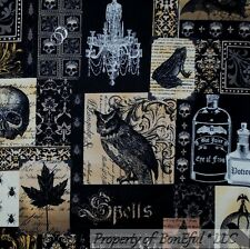 BonEful Fabric FQ Cotton Quilt Black Brown Gray Lg Skull Magic Frog Owl Bird Bat