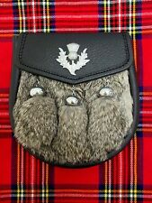 Gray Rabbit & Leather with Thistle Badge Sporran for Kilts Includes Chain Belt