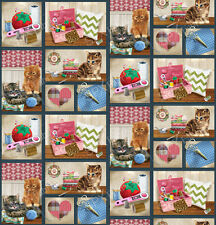Krafty Kittens 48 Individual Panels 100% Cotton Quilting Fabric Crafty Cats