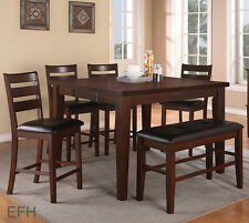 NEW 6PC MITCHELL ANTIQUED WALNUT FINISH WOOD COUNTER HEIGHT DINING SET w/ BENCH