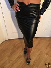 Black High Waisted Faux Leather Pencil Skirt  S