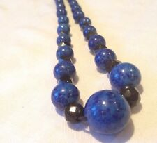 Vintage Art Deco Lapis Glass And French Jet Glass Bead Necklace