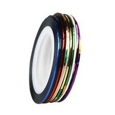 10x Mixed Colors Rolls Striping Tape Line Nail Art Decoration Design Sticker Hot