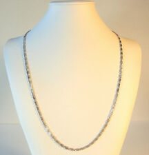 White Gold Necklace Link Etched  9k Chain 24in Womens Girls No Stone