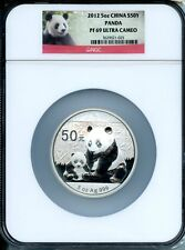 CHINA  2012 PANDA  SILVER 5 OZ  50 YUAN    NGC PROOF 69 ULTRA CAMEO