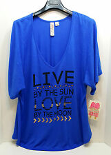 Miken Swim Blue Live By The Sun  Cover Up Shirt Size M