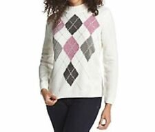 Alfred Dunner Glacier Lake Ivory Long Sleeves Argyle Chenille Sweater Size S