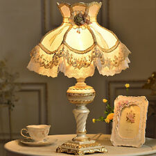 Delicate European Bedside Desk Table Lamp Gold Lace